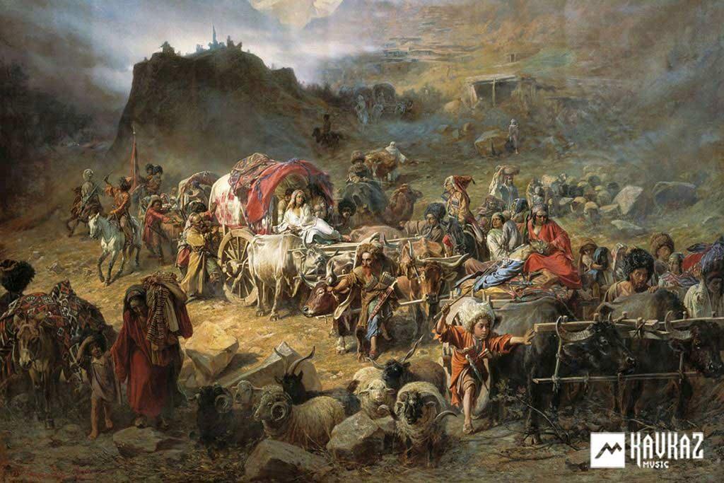 Оставление горцами аула при приближении русских войск. Художник Петр Грузинский, 1872 г